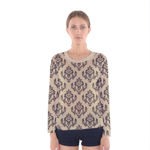 Damask - Black On Almond Buff Women s Long Sleeve Tee by TimelessFashion