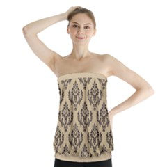 Damask   Black On Almond Buff Strapless Top by TimelessFashion