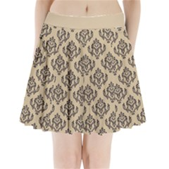 Damask   Black On Almond Buff Pleated Mini Skirt by TimelessFashion