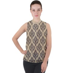 Damask   Black On Almond Buff Mock Neck Chiffon Sleeveless Top