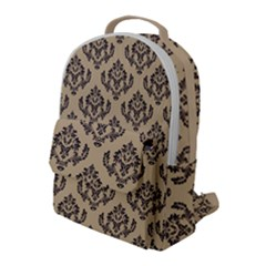 Damask - Black On Almond Buff Flap Pocket Backpack (large) by TimelessFashion