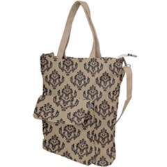 Damask   Black On Almond Buff Shoulder Tote Bag
