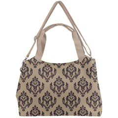Damask   Black On Almond Buff Double Compartment Shoulder Bag