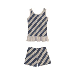 Diagonal Stripes  Kids  Boyleg Swimsuit by TimelessFashion