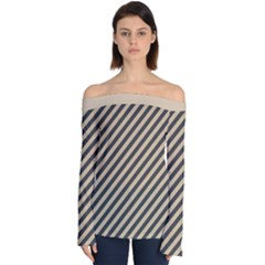 Diagonal Stripes  Off Shoulder Long Sleeve Top by TimelessFashion