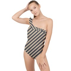 Diagonal Stripes  Frilly One Shoulder Swimsuit by TimelessFashion