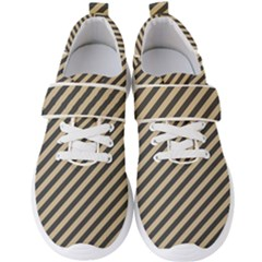 Diagonal Stripes  Men s Velcro Strap Shoes