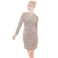 Field Of Daisies  Button Long Sleeve Dress