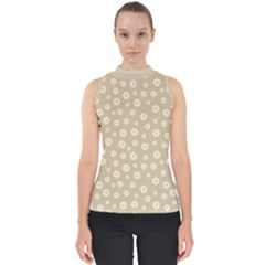 Field Of Daisies  Mock Neck Shell Top