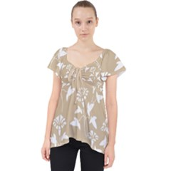 Floral In Almond Buff And White Lace Front Dolly Top by TimelessFashion