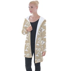 Floral In Almond Buff And White Longline Hooded Cardigan by TimelessFashion