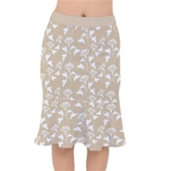 Floral In Almond Buff And White Mermaid Skirt by TimelessFashion