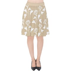 Floral In Almond Buff And White Velvet High Waist Skirt by TimelessFashion
