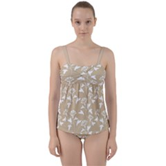 Floral In Almond Buff And White Twist Front Tankini Set