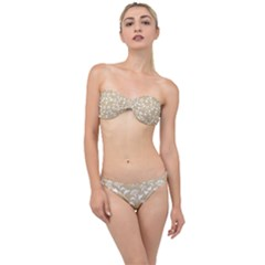 Floral In Almond Buff And White Classic Bandeau Bikini Set by TimelessFashion