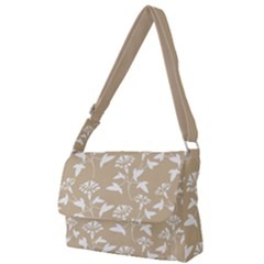 Floral In Almond Buff And White Full Print Messenger Bag by TimelessFashion