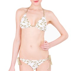 Floral In Almond Buff And White Classic Bikini Set by TimelessFashion