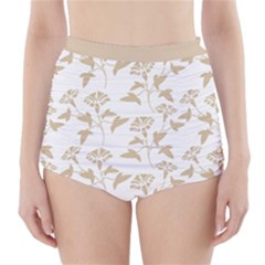Floral In Almond Buff And White High Waisted Bikini Bottoms by TimelessFashion