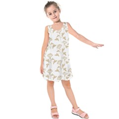 Floral In Almond Buff And White Kids  Sleeveless Dress