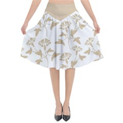 Floral In Almond Buff And White Flared Midi Skirt
