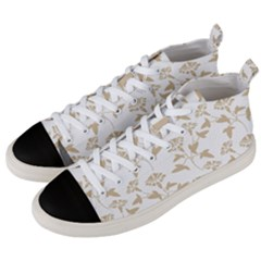 Floral In Almond Buff And White Men s Mid Top Canvas Sneakers by TimelessFashion