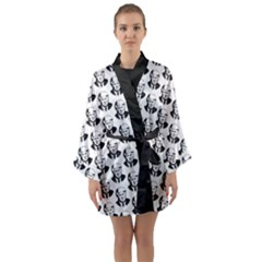 Trump Retro Face Pattern Maga Black And White Us Patriot Long Sleeve Kimono Robe by snek