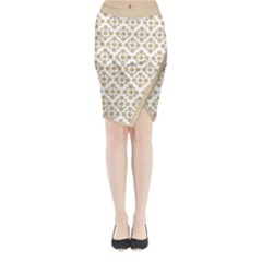 Floral Dot Series   Almond Buff And White Midi Wrap Pencil Skirt by TimelessFashion
