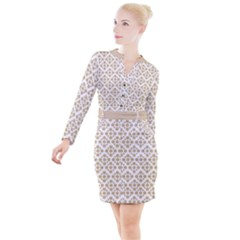 Floral Dot Series - Almond Buff And White Button Long Sleeve Dress by TimelessFashion