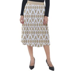 Floral Dot Series   Almond Buff And White Classic Velour Midi Skirt  by TimelessFashion