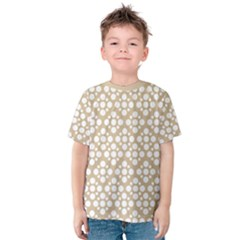 Floral Dot Series   White And Almond Buff Kids  Cotton Tee