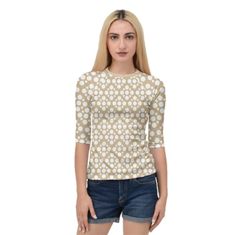 Floral Dot Series   White And Almond Buff Quarter Sleeve Raglan Tee by TimelessFashion