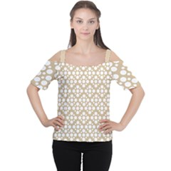Floral Dot Series   White And Almond Buff Cutout Shoulder Tee