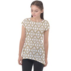 Floral Dot Series   White And Almond Buff Cap Sleeve High Low Top