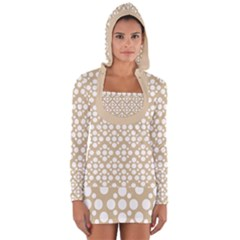 Floral Dot Series   White And Almond Buff Long Sleeve Hooded T Shirt by TimelessFashion