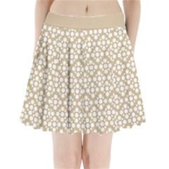 Floral Dot Series - White And Almond Buff Pleated Mini Skirt by TimelessFashion