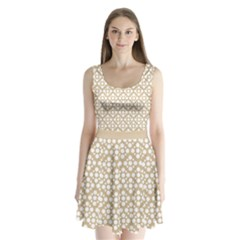 Floral Dot Series   White And Almond Buff Split Back Mini Dress  by TimelessFashion
