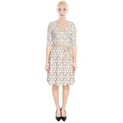 Floral Dot Series   White And Almond Buff Wrap Up Cocktail Dress