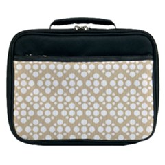 Floral Dot Series   White And Almond Buff Lunch Bag by TimelessFashion