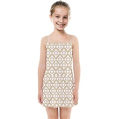 Floral Dot Series   White And Almond Buff Kids  Summer Sun Dress by TimelessFashion