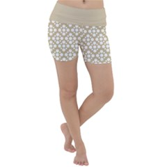 Floral Dot Series   White And Almond Buff Lightweight Velour Yoga Shorts by TimelessFashion