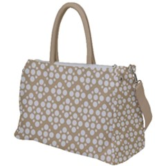 Floral Dot Series - White And Almond Buff Duffel Travel Bag by TimelessFashion