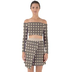 Grid Of Elegance  Off Shoulder Top With Skirt Set by TimelessFashion