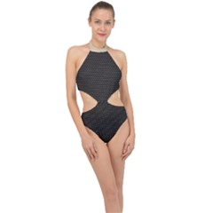 Hexagon Effect  Halter Side Cut Swimsuit