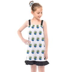 Apu Apustaja With Banana Phone Wall Eyed Pepe The Frog Pattern Kekistan Kids  Overall Dress by snek