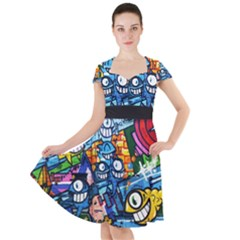 Graffiti Urban Colorful Graffiti Cartoon Fish Cap Sleeve Midi Dress