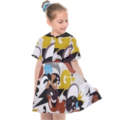 Graffiti Urban Colorful Graffiti City Wall Hip Hop Music Singers Kids  Sailor Dress by genx