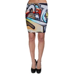 Blue Face King Graffiti Street Art Urban Blue And Orange Face Abstract Hiphop Bodycon Skirt
