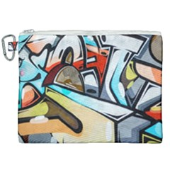 Blue Face King Graffiti Street Art Urban Blue And Orange Face Abstract Hiphop Canvas Cosmetic Bag (xxl)