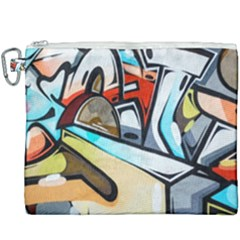 Blue Face King Graffiti Street Art Urban Blue And Orange Face Abstract Hiphop Canvas Cosmetic Bag (xxxl)