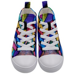 Urban Colorful Graffiti Brick Wall Industrial Scale Abstract Pattern Kids  Mid Top Canvas Sneakers